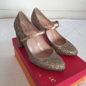 Rose Gold Kate Spade Mary Jane Glitter Heels